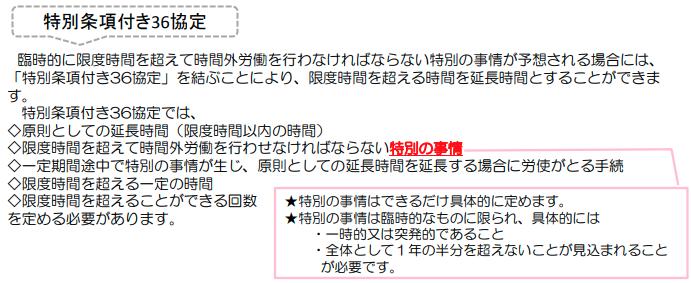 特別条項付き36協定(厚生労働省)